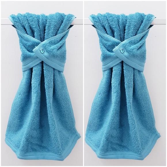 2 Handmade Hanging Snap Hand Towels Jewel Snaps Nwt